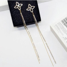 Charmcci Elegant Bling CZ Rhinestones Long Tassel Rhinestone Dangle Earrings for Women Shiny Diamante Crystal Gold/Silver Color