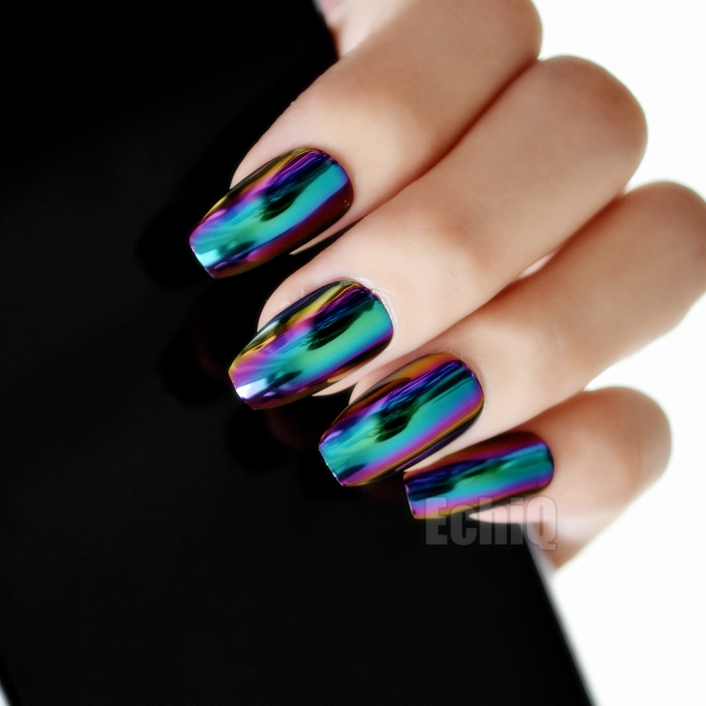 Ballerina Coffin Nails Mirror Chrome False Nail Solid Reflection Magic Effect Green Purple Holo Fake Tips In From Beauty Health