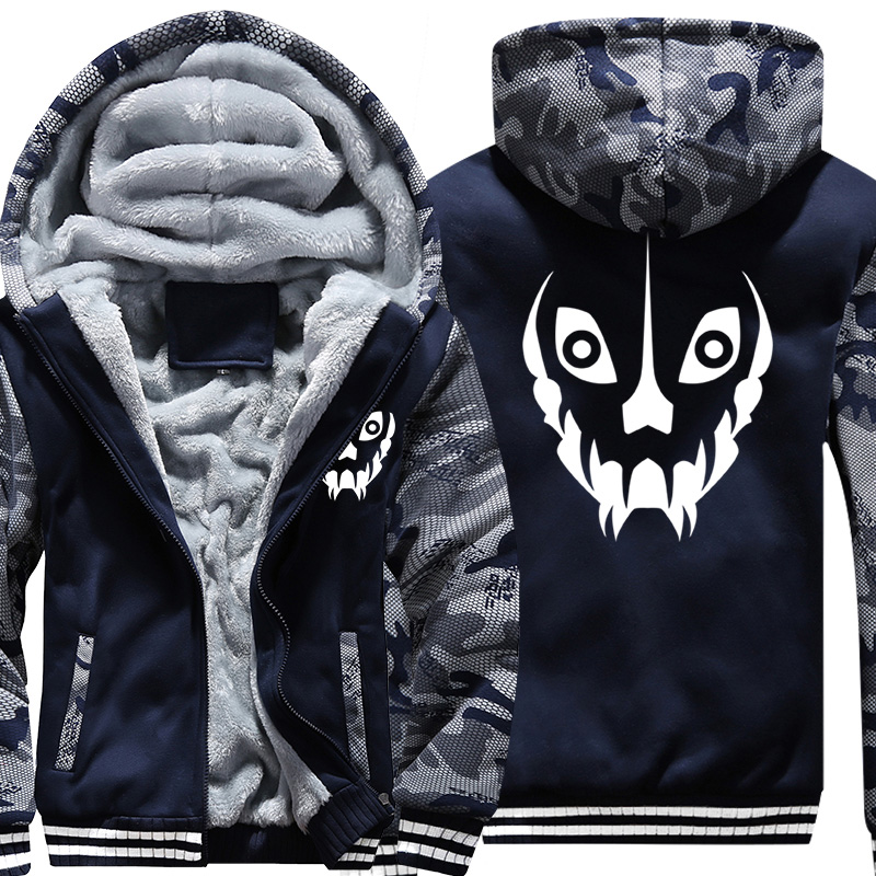 US Size Mens Camouflage Coat For Game Undertale Sans Papyrus Battle Fatigues Jacket Thicken Hoodie Hip Hop Sweatshirts