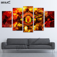 Attractive 5 Panel Popular Tops Modern Hot Sale Manchester Football Canvas Wall Art  Oil Painting For Bedroom