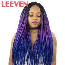 Leeven Synthetic Hair Jumbo Braids Kanekalon Ombre Braiding Hair Extension Crochet Braids Expression Fiber Blue Pink(China)