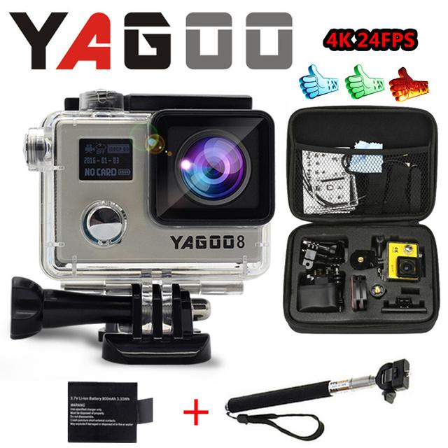 Câmera ação YAGOO8 deportiva Originais Novatek 96660 câmera de vídeo 4 k hd WiFi 1080 P 60fps esporte Cam à prova d' água Esporte câmera dv