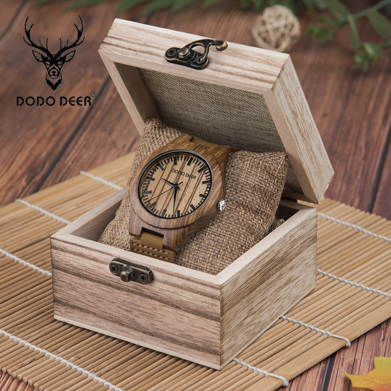 DODO DEER Brown Soft Leather Band Quartz Wood Watches Men Leisure Accessories Wooden Watch Gifts Personalized A19-1