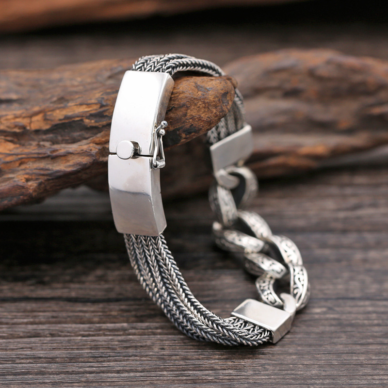 Real 925 Sterling Silver Bracelets for Women Men Vintage Width 13mm Thai Silver Chain Charms Bracelets&Bangles Fashion Jewelry thai silver bracelets