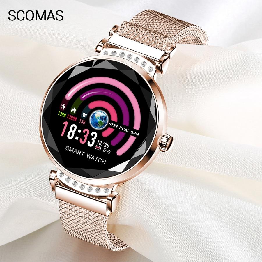 SCOMAS Luxe Vrouwen Slimme Horloge 3D Diamant Glas IP67 Waterdichte Hartslagmeter Fitness Tracker Vrouwelijke Functie Smartwatch-in Smart watches van Consumentenelektronica op  Groep 1