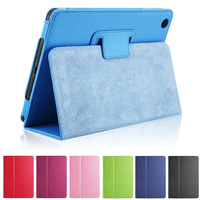 For IPad Mini 2 Mini 3 Magnetic Open Close Wake Up Sleep Flip Litchi Leather Case