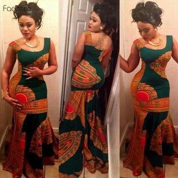 Fadzeco African Dashiki Outfits dresses for women Flare Hem Print Wide Strap Maxi Ankara Dress African Women Gowns Long Dress daisy print overlap hem dress