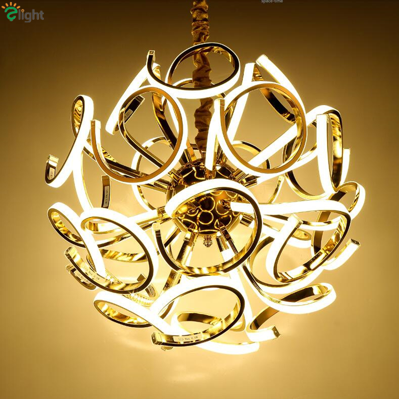 Post Modern Luminaire Led Pendant Light Plate Chrome / Gold Lustre Metal Suspend Lamp Indoor Lighting Fixtures Lamparas