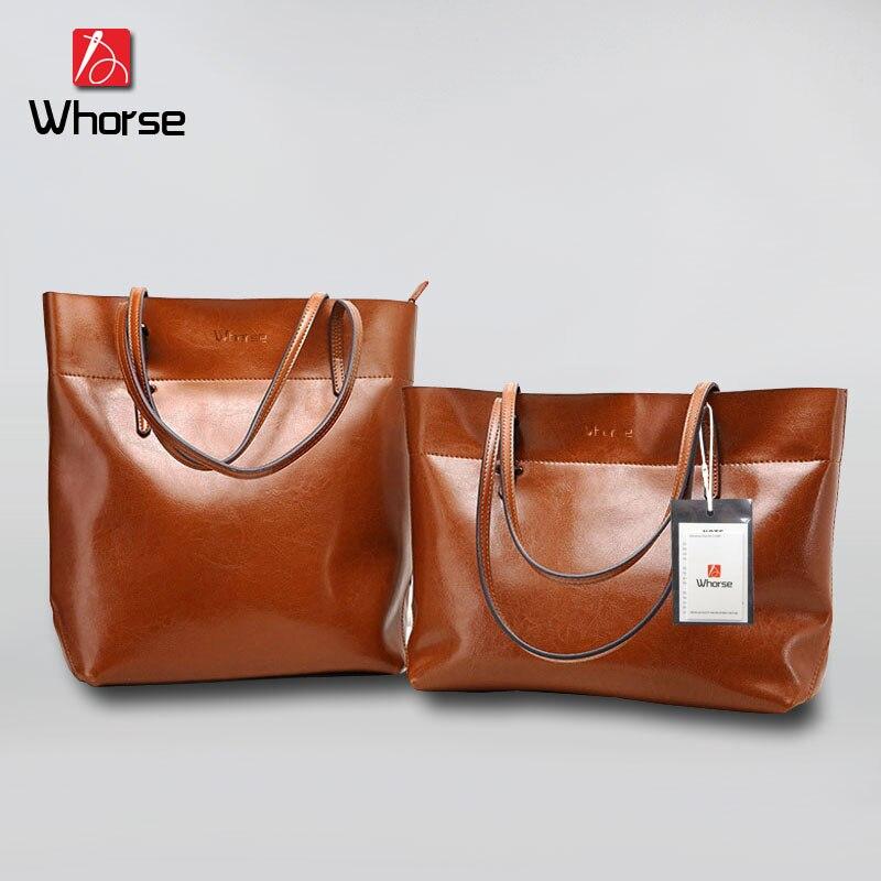 [WHORSE] Brand Logo New Women Handbag Genuine Leather Shoulder Bags Cowhide Ladies Casual Shopping Bag Large Capacity Tote Big