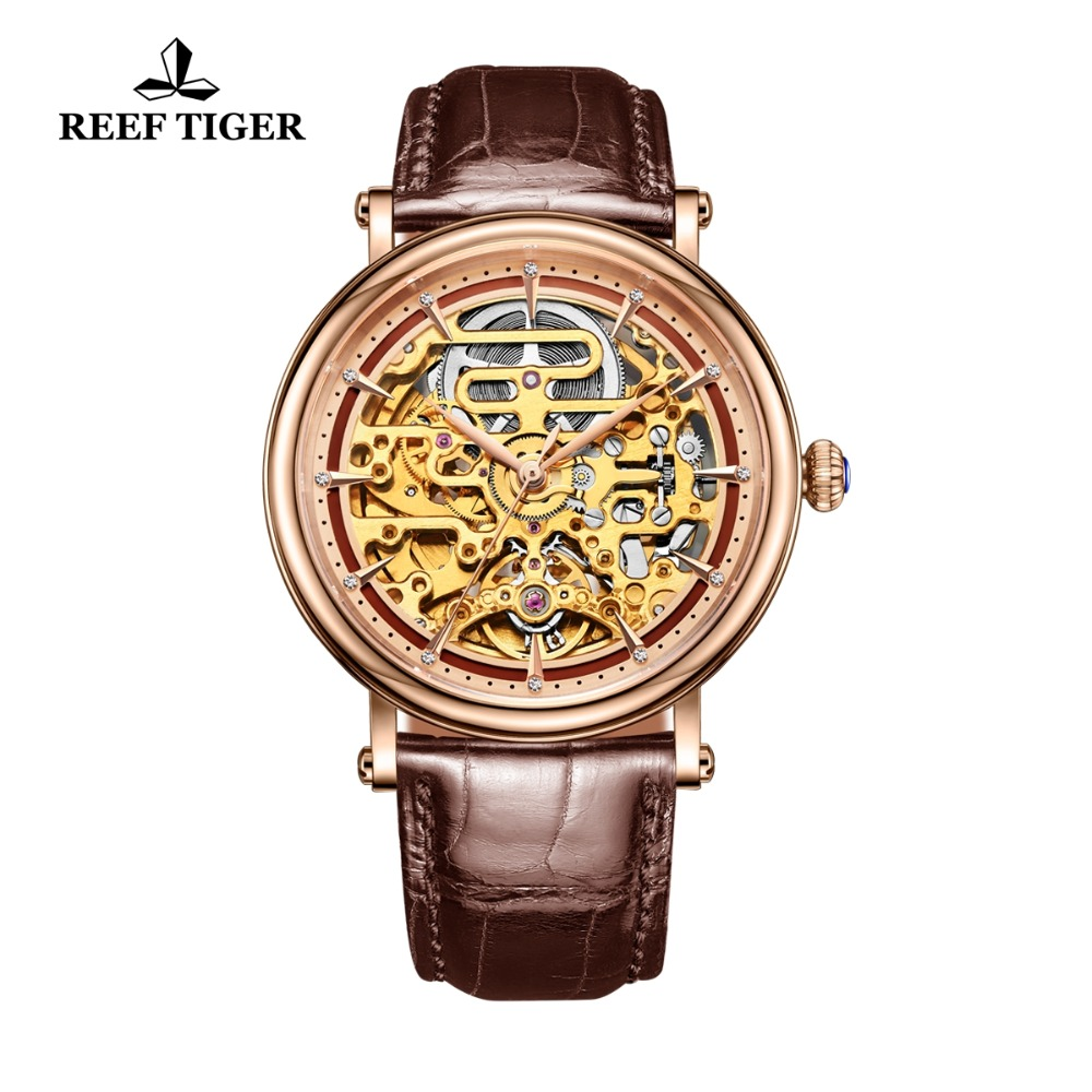 Reef Tiger RT Mens Mechanical Skeleton Watch with Rose Gold Genuine Leather Band Vintage Watches RGA1917