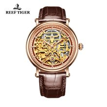 Reef Tijger/Rt Mens Mechanisch Skeleton Horloge Met Rose Goud Lederen Band Vintage Horloges RGA1917(China)