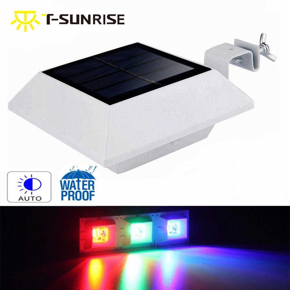 T-SUNRISE Solar Gutter <font><b>Lights</b></font> 6 LED Solar Powered Waterproof Security Wall Lamp for Outdoor Garden Fence Garage Door Patio House