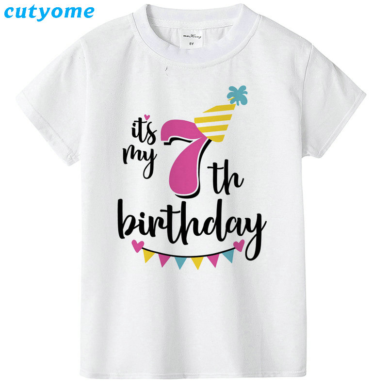 Summer Baby T Shirt Tops Children's Clothing Happy Birthday Girls Boys Short Sleeve Kids Clothes Tee Girls Boys' T-shirts Casual (20)