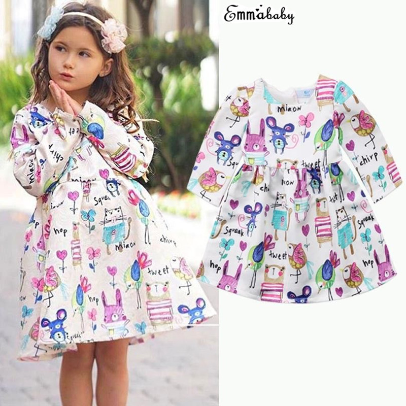 Adorable Kids Baby Girls Princess Dress Long Sleeve Cartoon Printed Fille Jolie Pageant Wedding Party Dresses 1-6 Year