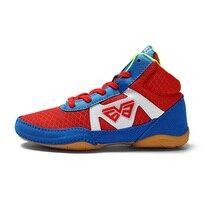 Детская обувь спортивная уличная легкая детская профессиональная тренировочная борцовка обувь для кикбоксинга красные синие спортивные кроссовки для мальчиков и девочек