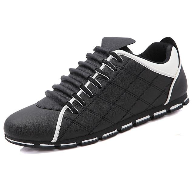 Venta caliente de Los Hombres de Nueva Inglaterra Zapatos de Cuero Ocasionales Respirables de la Tendencia De los hombres de la Marca Pisos de Alta Calidad Para Hombre entrenadores Zapatos
