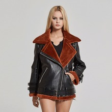 Fur Story Double Faced Fur coat Women's Natural Sheep Shearing Fur and Synthetic Leather Jacket Unisex Style Coat 17134