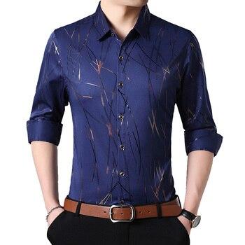 Men Fall 2018 Fashion New Men's Button Shirt Designer Long Sleeve Man Printing Bussiness Shirts Big Size Camisa Social 5XL 7XL