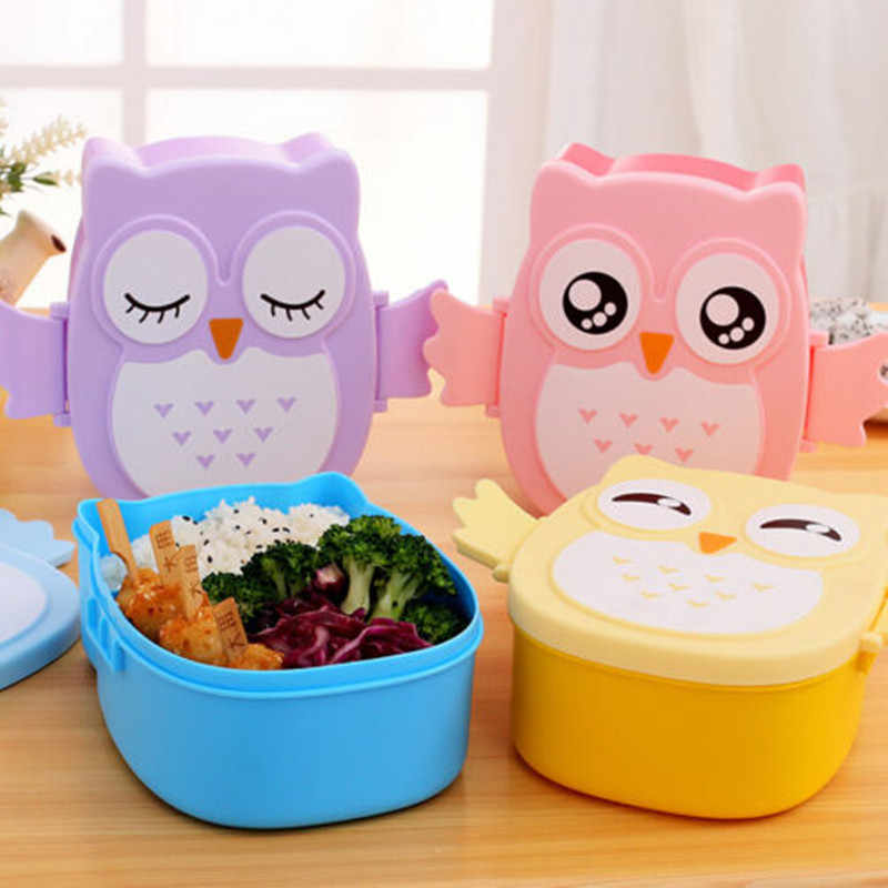 Cute Cartoon Owl Lunch Box Food Container Storage Box Portable Kids Student Lunch Box Bento Box Container With Compartments Case