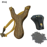 100 pcs 8mm Slingshot Balls + 1 pc Powerful Wood Slingshot Bow Catapult & Slingshot Bag for Outdoor Hunting Shooting Sport Games