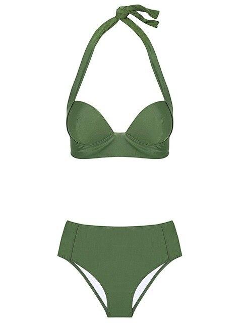 Halter high waist bikini women 2018 Push up plunge swimsuit solid sexy vintage swimwear female Sport bathing suit red bikini set