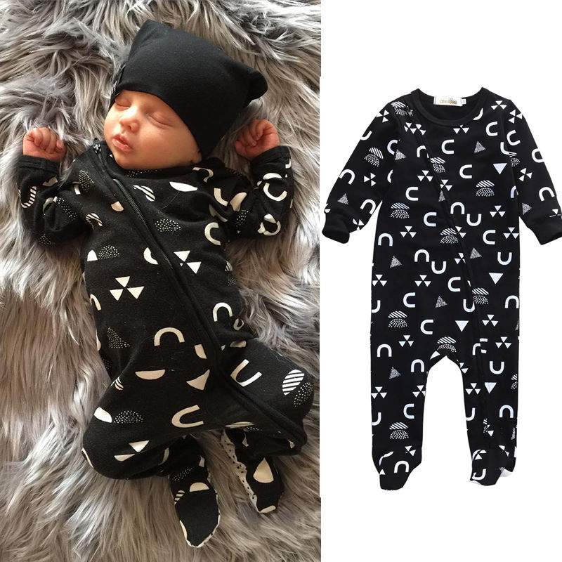 Newborn Infant Baby Romper Long Sleeve Cotton Zipper Playsuit Jumpsuit Clothes + Hat 2pcs Kids Clothing 0-18M he hello enjoy baby rompers long sleeve cotton baby infant autumn animal newborn baby clothes romper hat pants 3pcs clothing set