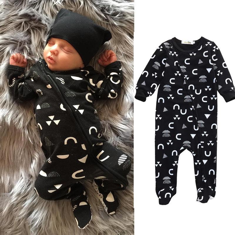 Newborn Infant Baby Romper Long Sleeve Cotton Zipper Playsuit Jumpsuit Clothes + Hat 2pcs Kids Clothing 0-18M
