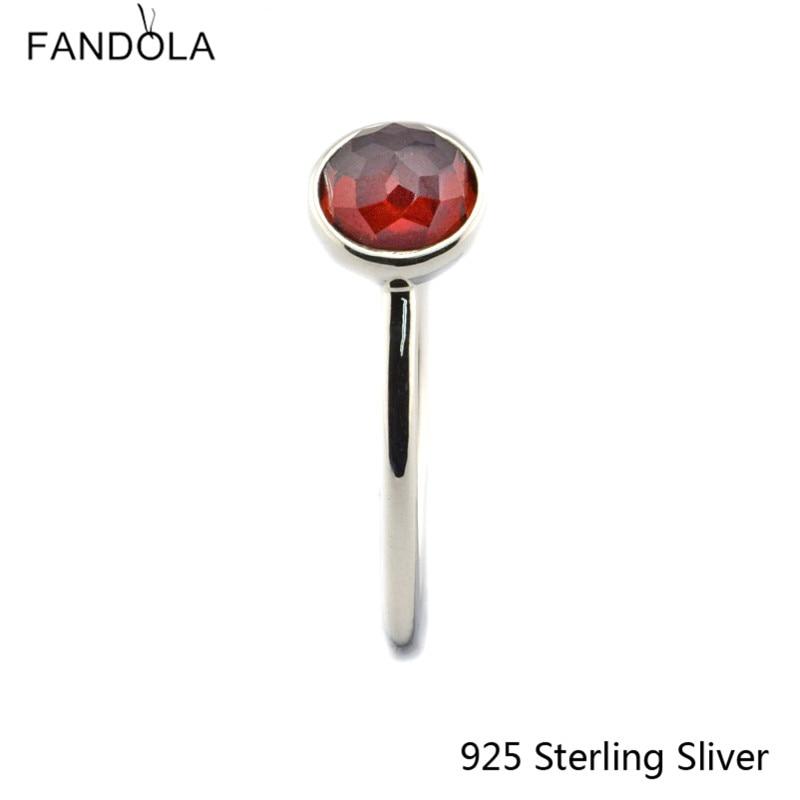 CKK 925 Sterling Gümüş Yanvar Damlası, Qadınlar üçün Garnet - Gözəl zərgərlik - Fotoqrafiya 4