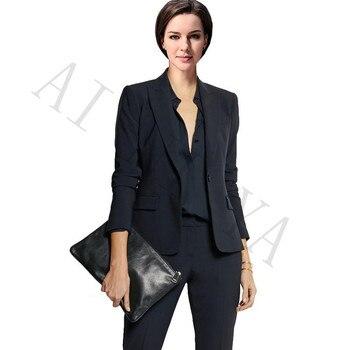 Jacket + Pants Ladies Business Set Black Button Lady's Office Uniform Official Dinner Party Party Slim Lady Pants Set