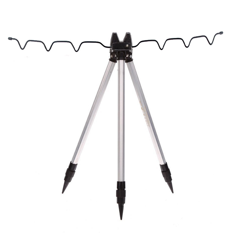 Aluminum Alloy Telescopic Fishing Tripod Holder Stand for Fishing Rod Silver|Rod Combo| |  - title=