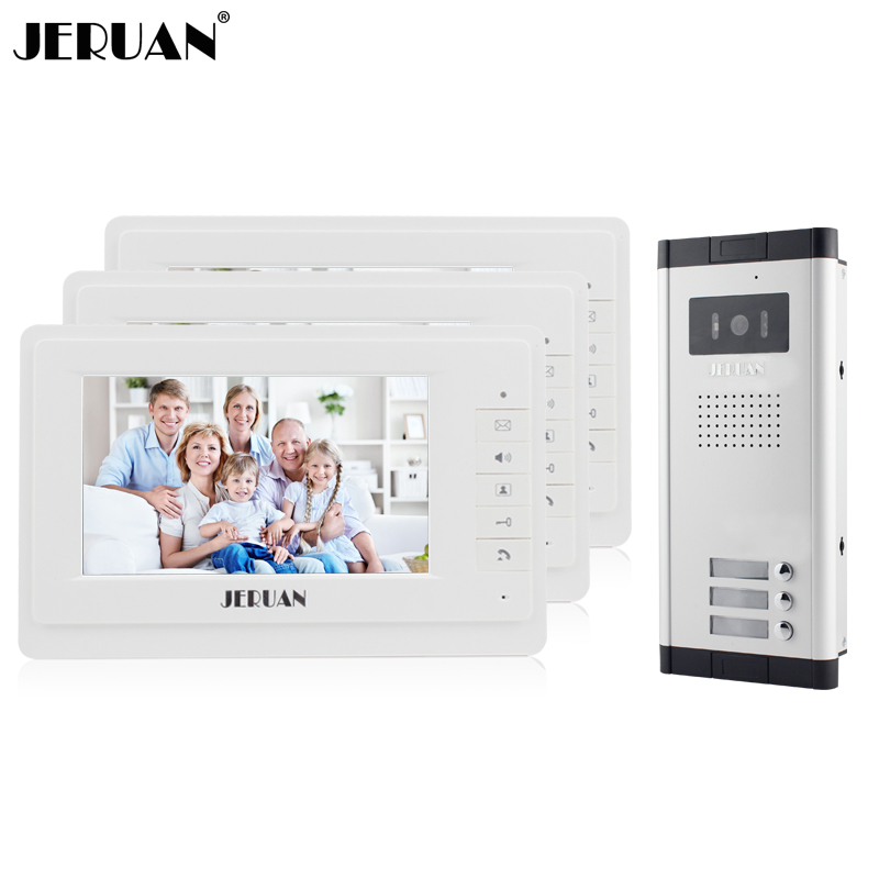 JERUAN New 7 inch Video door phone Intercom Apartment Doorbell System 3 White Monitor 1 HD COMS Camera for 3 Household