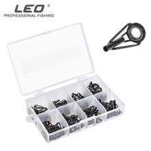 80pcs/lot Leo Fishing Guide Ring Suit 27925 Black Stainless Steel Ceramic Lure Fishing Accessories Pesca 8 Kinds Size Guide Ring
