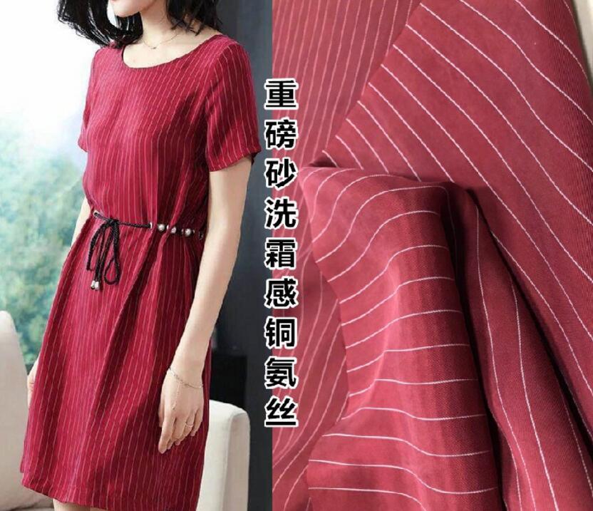 10style Retro striped copper ammonia natural fiber silk fabric,printing textiles hollandais sequin christma dress fabric A078