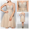 Champagne robe de Cocktail Dresses A Line V neck Lace Applique Beaded Knee length Illusion Sheer Short Party Gowns