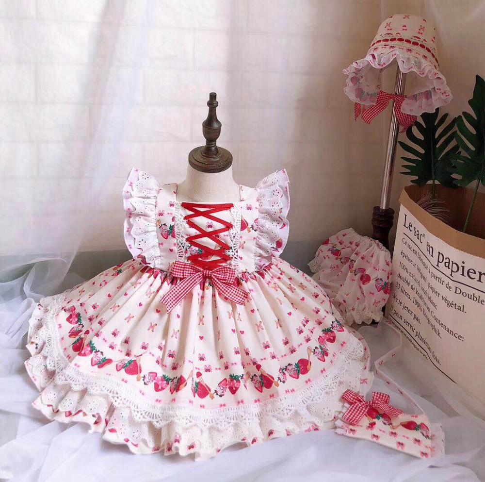 0 7Y 4PCS Summer Autumn Girl Red Strawberry Vintage Spanish Lolita Princess Gown Birthday Party Dress
