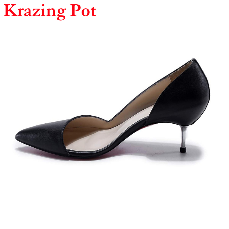 Genuine Leather Fashion Women Pumps Slip on Metal Med Heel Pointed Toe Stiletto Princess Style Solid Office Lady Work Shoes L73 british college style genuine leather sexy pointed toe pumps fashion tassel slip on red black beige square med with women shoes