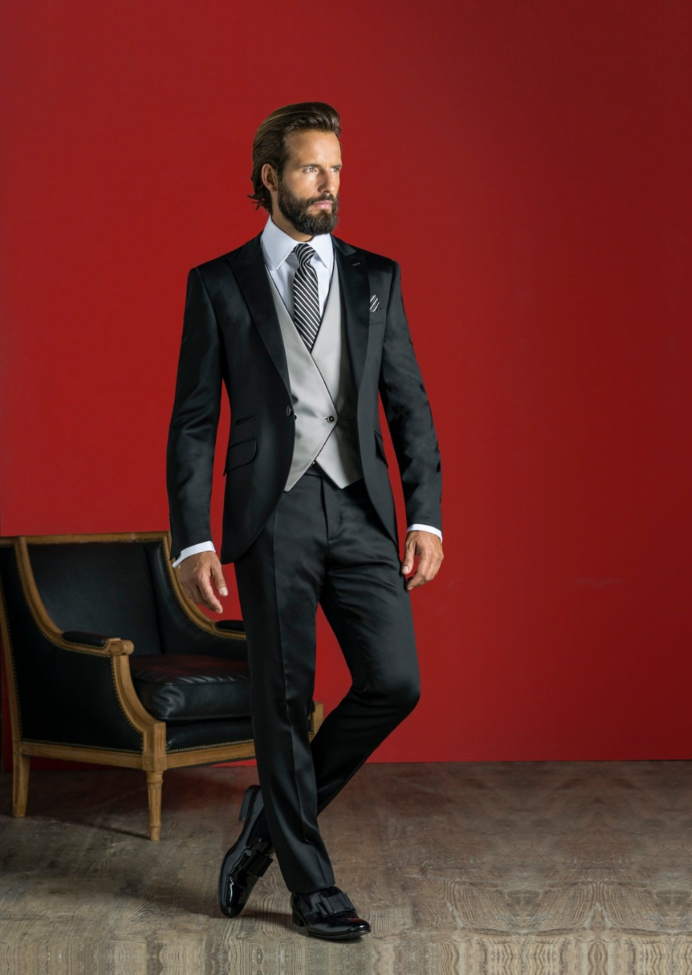 Latest Coat Pant Designs Black font b Men b font font b Suit b font Formal