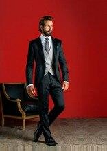 Latest Coat Pant Designs Black Men Suit Formal Skinny Blazer Masculino Classic Custom Gentle Suits 3 Piece Traje de Novio L90