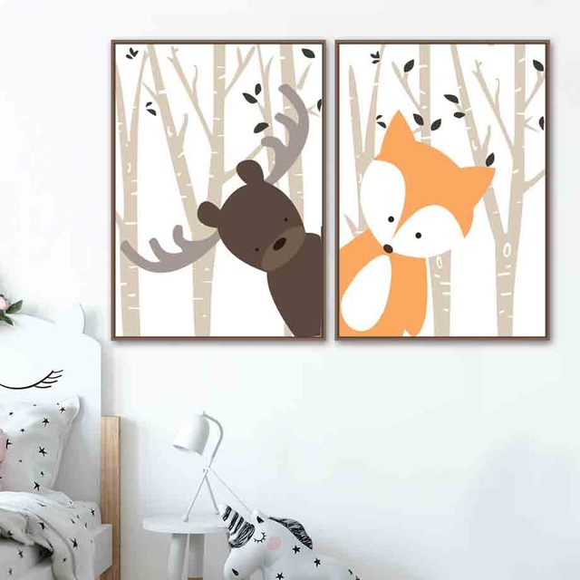 Cartoon Forest Deer Rabbit Fox Nordic Posters Wall Art  2