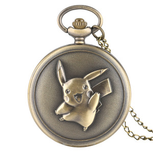Pocket Watch Men Women Antique Bronze Cute Pikachu Pokemon Pattern Quartz Watch for Boy Girls Unisex Pendant Gift