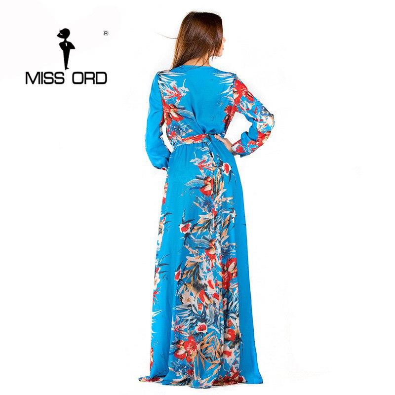 Sexy v-образным вырезом с длинным рукавом сплит печать платье FT2294