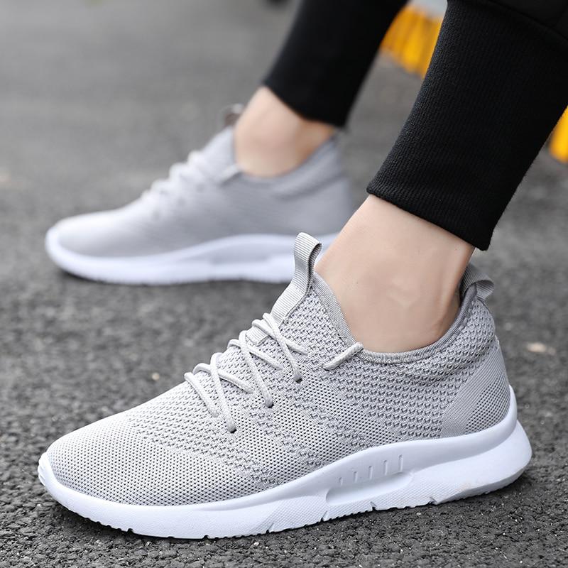 New Flying Weave Super Light Men's Running Shoe Outdoor Sport Shoes Mens Cushioning Non-slip Mesh Walking Shoes Men Sneaker
