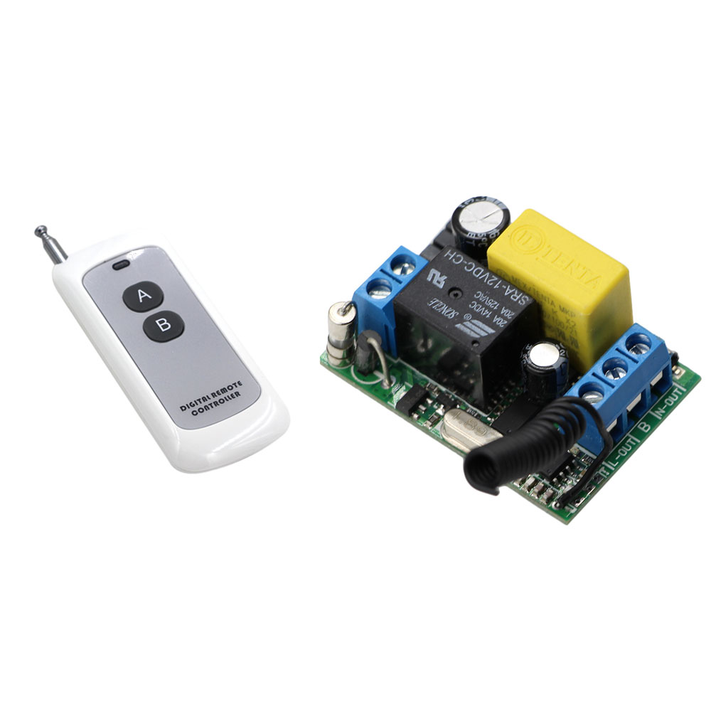 Wireless Remote Control Light Switch 10A Relay Output Radio 220V 1 Channel Receiver Module + 1000M ON OFF Transmitter small relays wireless rc switch button signal line on off dc3 7 5v 12v controller remote control module