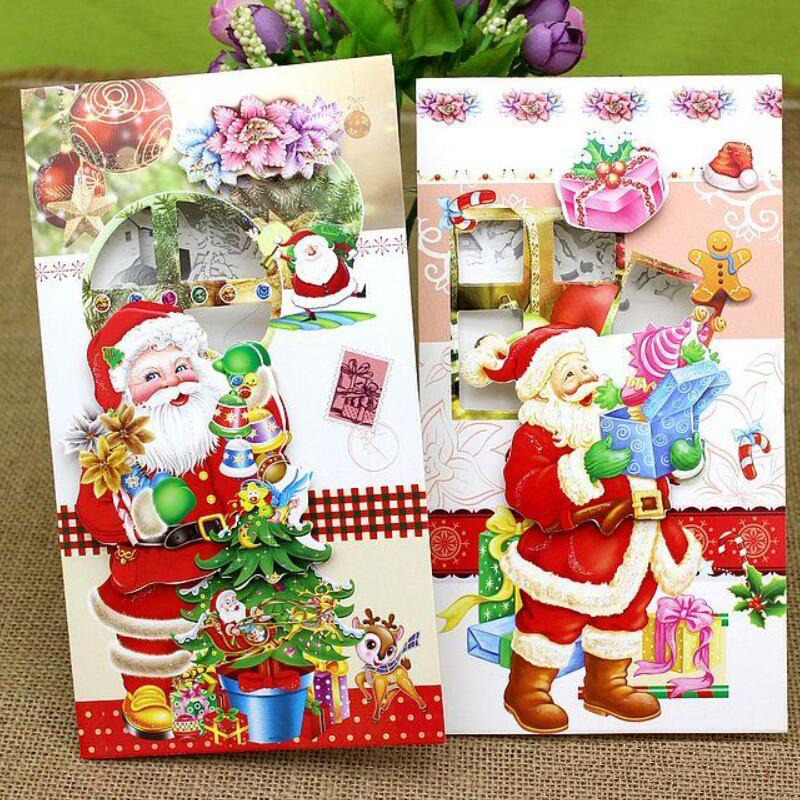 Merry Christmas Gift Card.Us 7 89 8 Pcs Lot 3d Printing Paper Blessing Cards Creative Handmade Merry Christmas Gift Card New Year Postcards Greeting Card In Cards