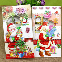 цена на 8 Pcs/lot 3D Printing Paper Blessing Cards Creative Handmade Merry Christmas Gift Card New Year Postcards Greeting Card