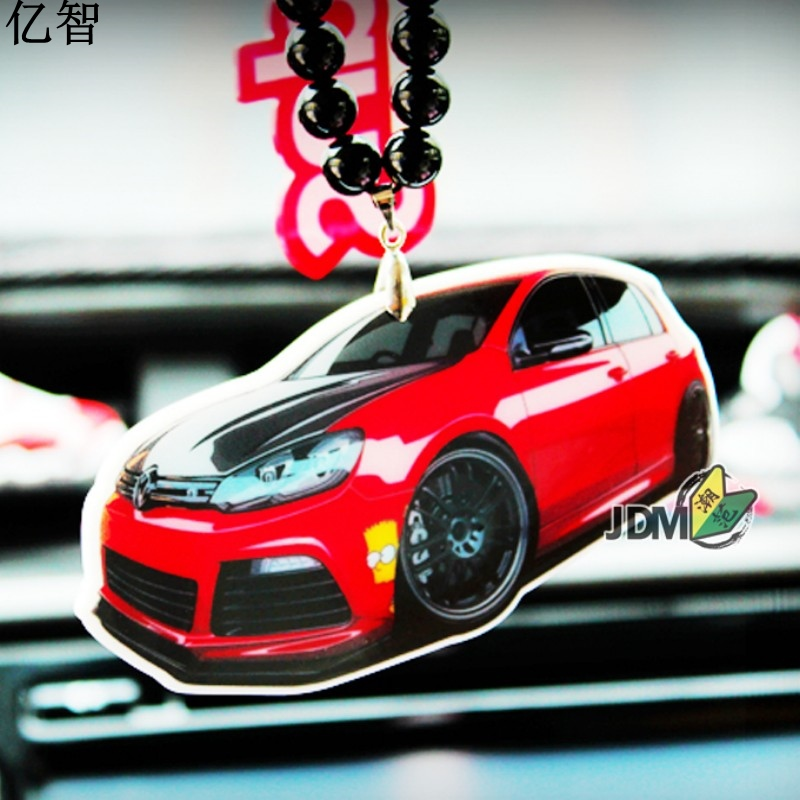 YiZhi car cool mini golf model Ornaments Creative and cool styling Rearview mirror pendant gift for friend