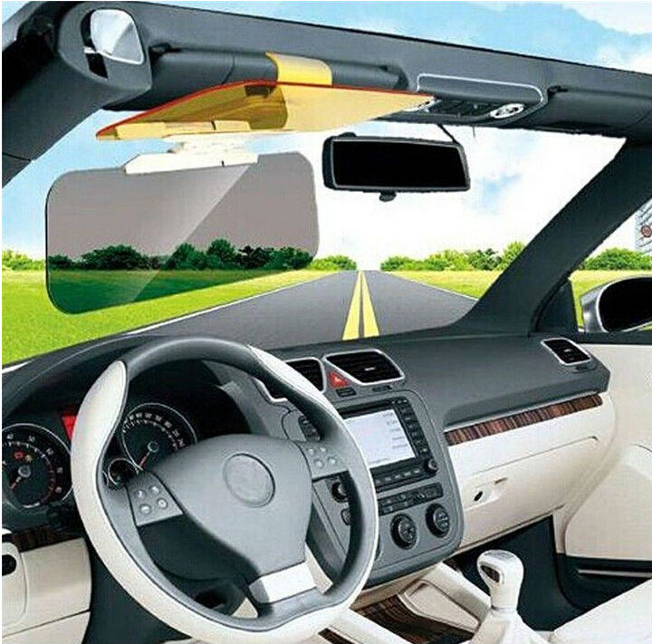 Driver Goggles Wise Travel Hottest 2 In 1 Car Sunshade Day Night Vision Mirror Driving Clip Sun Visor Hd Yellow Auto Accessories Strong Resistance To Heat And Hard Wearing