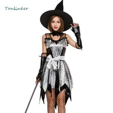 2018 Halloween Witch Cosplay Sexy Costume Adult Womens Irregular Dress+Hat Women Party Carnival Cosplays Clothing