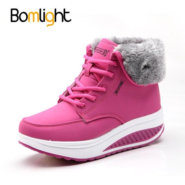 a06327173 Bomlight Inverno Feminino Além de Veludo Plataforma Balanço Sapatos Mulher  da Neve Botas Mulheres Sapatos de