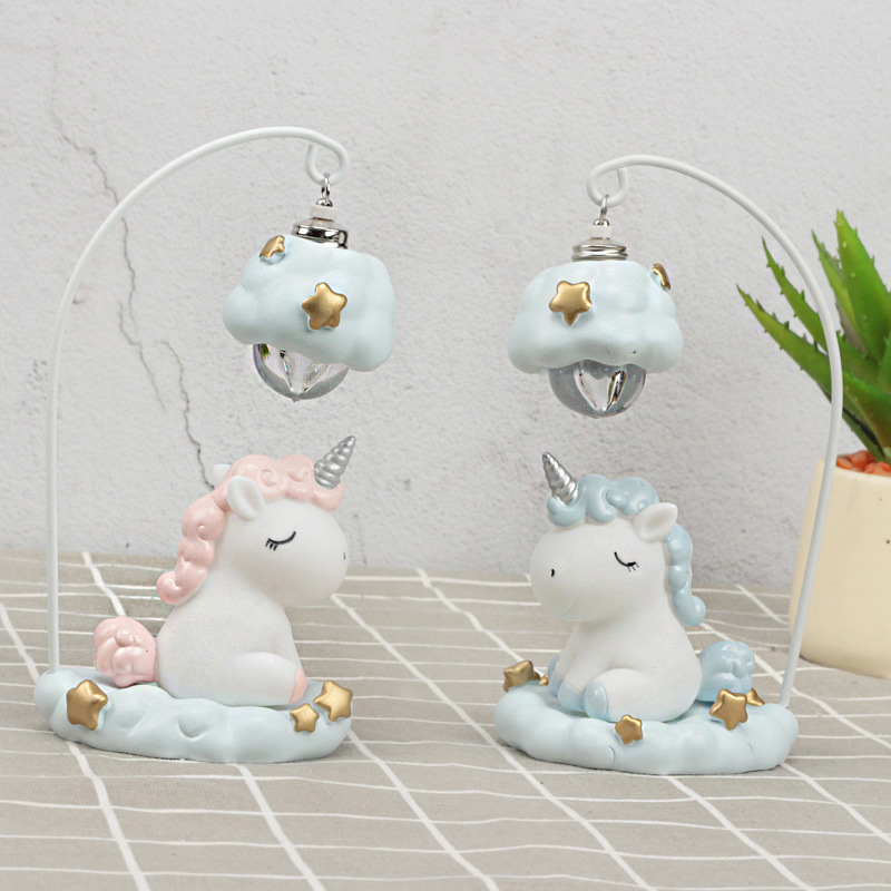 Cute Cartoon LED Night Light Home Decor Light Resin Unicorn Light Bedside Table Lamp For Baby Children Kids Girls Birthday Gift (4)